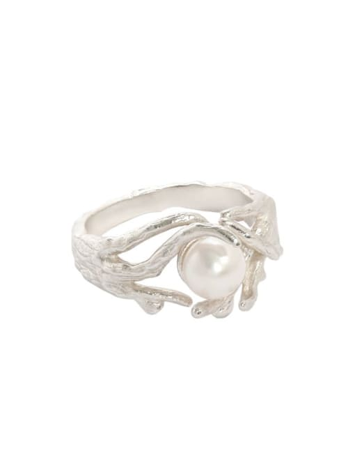 Silver [size 13 adjustable] 925 Sterling Silver Imitation Pearl Irregular Vintage Band Ring
